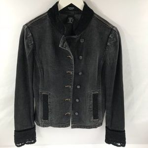 EXPRESS Stretch Jean Jacket Laced detailing